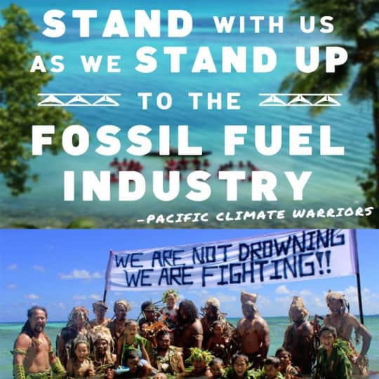 Images of the Pacific Climate Warriors, a poster saying