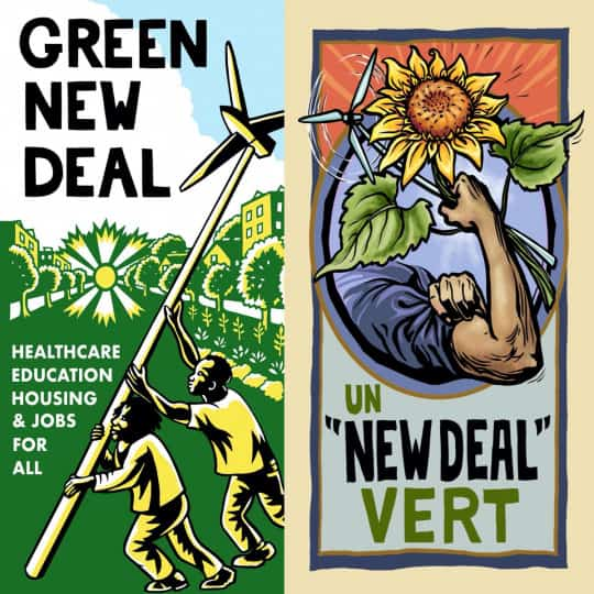 Two Green New Deal Posters, one showing two people raising a wind turbine, the other showing an arm lifting a sunflower.