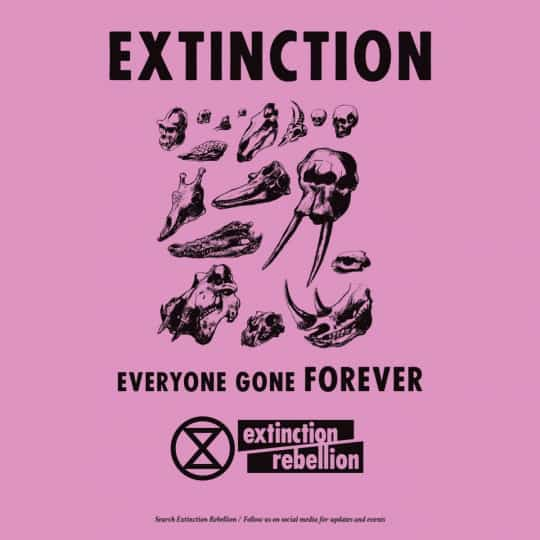 A poster from Extinction Rebellion showing the skulls of various animals, it says