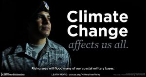 Campaign image of a soldier: Climate change affects us all. Rising seas will flood many of our coastal military bases.