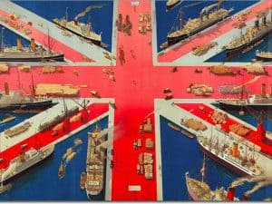 Celebratory image of the British Empire, with the Union Jack represented as docs and busy shipping scenes.