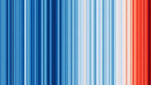 Famous front cover of the Economist, based on global temperature changes, abstracted as colour from blue to red.