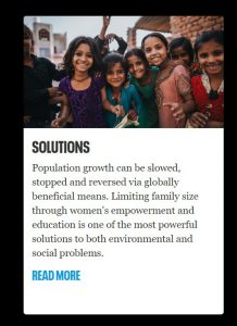 Solutions to climate change: Population, limiting family size etc. accompanied by an image of black and brown children.